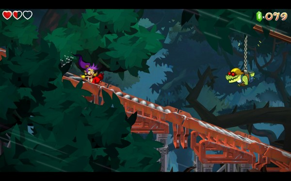 "The third level was a ""minecart"" level, with barrels to avoid both in front and behind Shantae, as well as objects being thrown from above."
